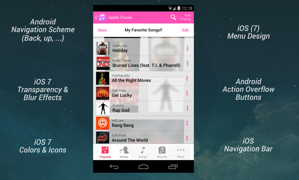 itunes for android concept viewout
