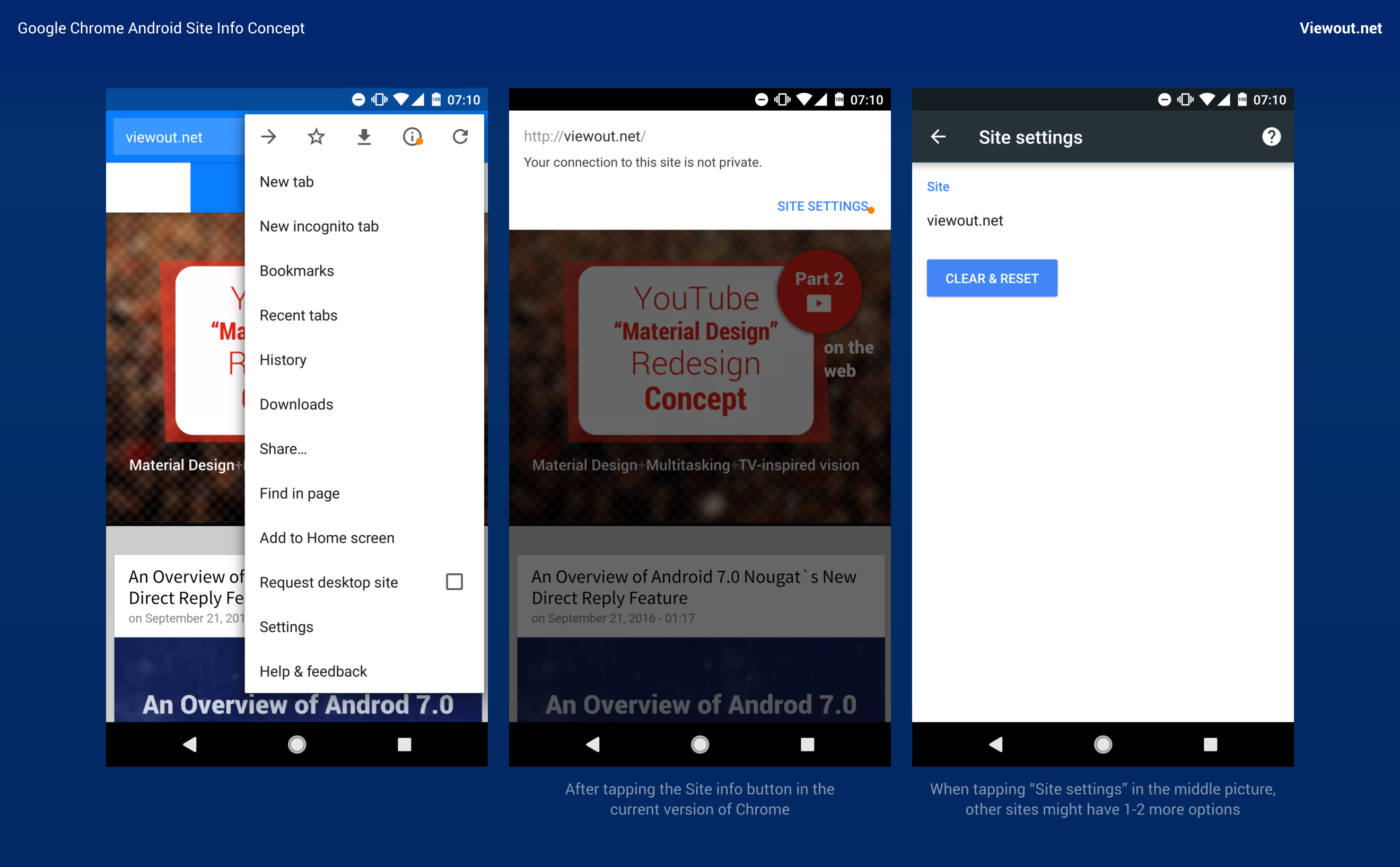 Google Chrome Android Site Info Concept - Viewout